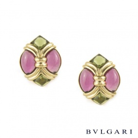 Bvlgari 18k Yellow Gold Pink and Green Tourmaline Earrings